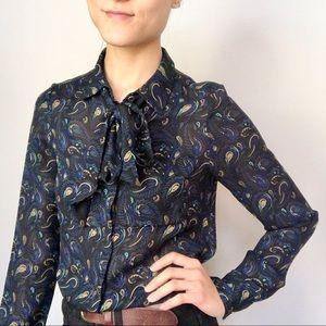 WHiT New York 70's neck bow secretary blouse